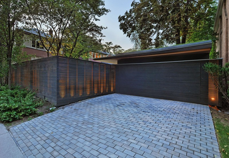 clôture et garage contemporains