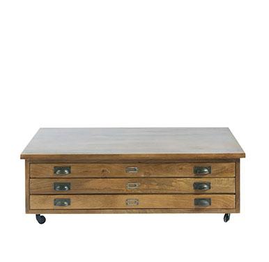 table basse en bois à roulettes