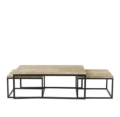 tables basses en bois et fer