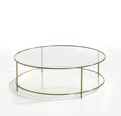 table basse ronde en verre et métal doré