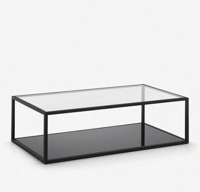 table basse en métal noir et verre