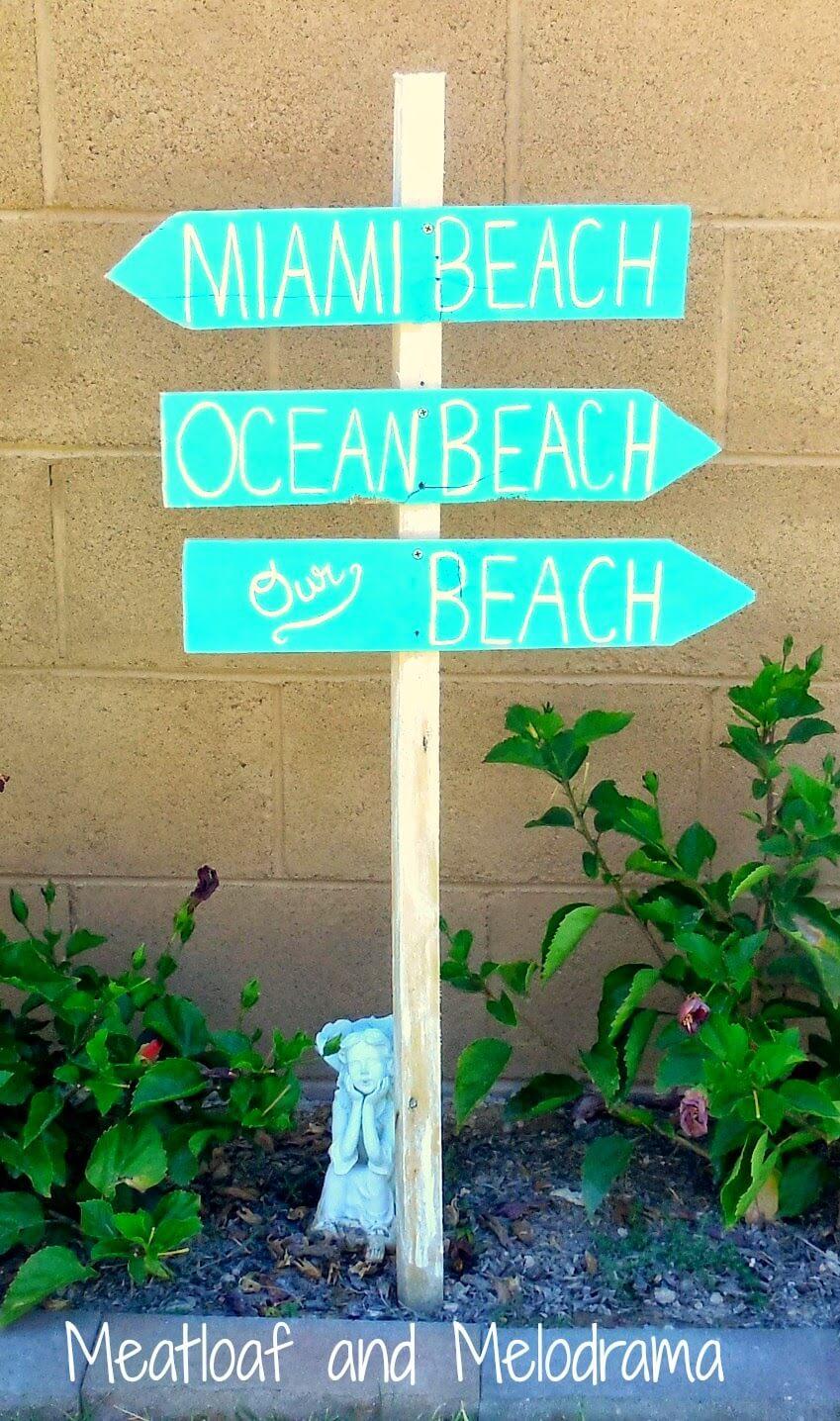 Quel chemin vers la plage?  Signe