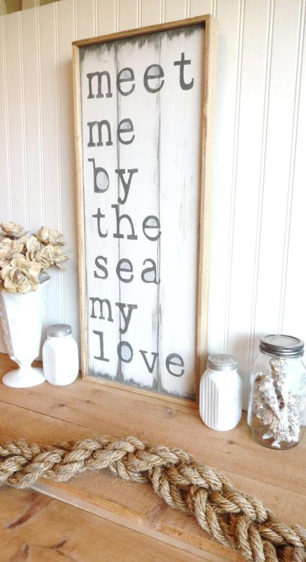 Panneau en bois sur le thème de la plage aimante