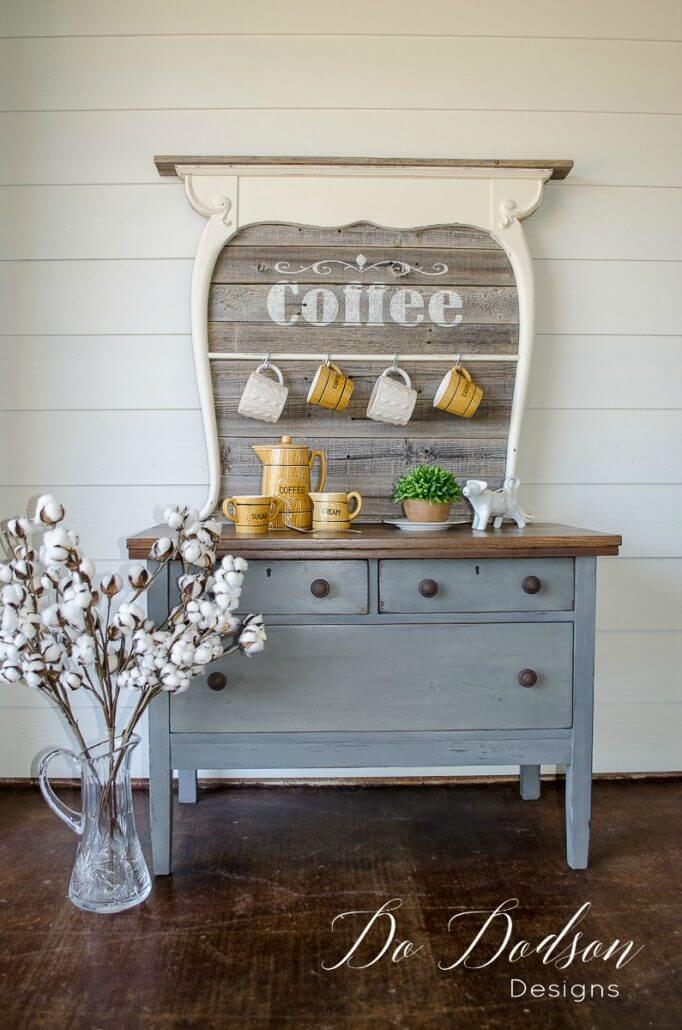 Magnifique station de café de beauté rustique en bois