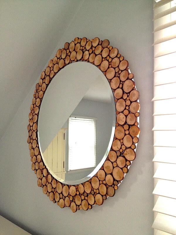 Miroir rond en bois décoratif