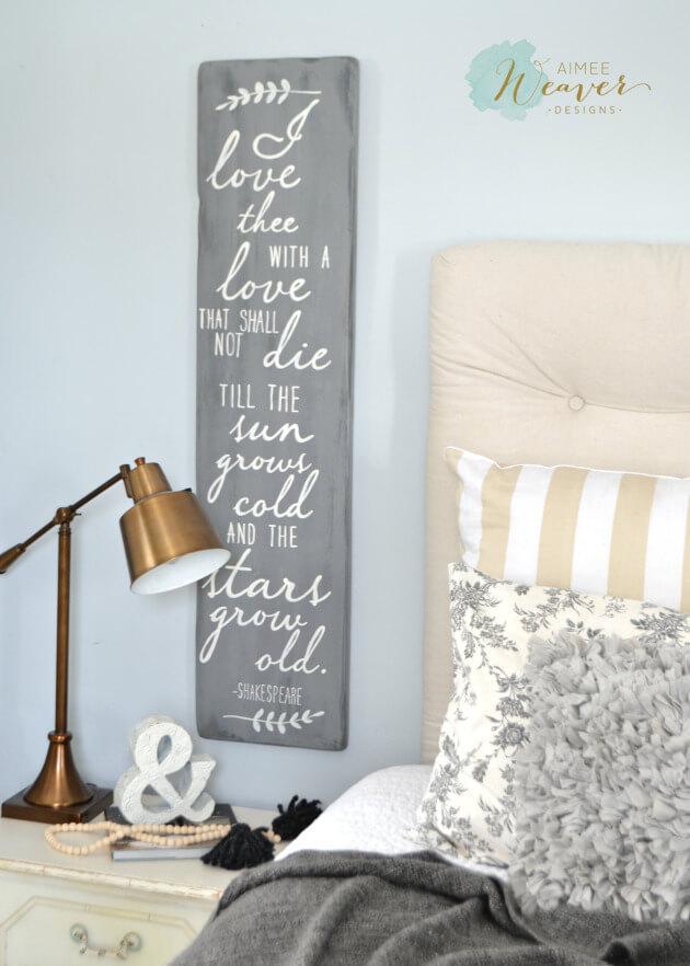 Signe d'amour poétique gris et blanc de Shakespeare