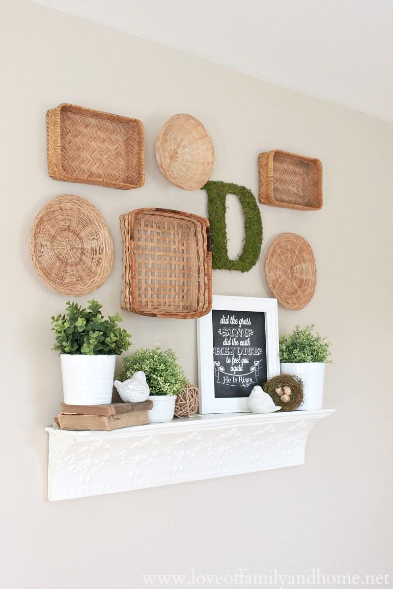 Tablette et paniers de cheminée inclinés blancs décoratifs