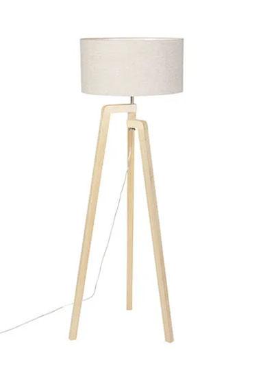 lampadaire en bois et blanc