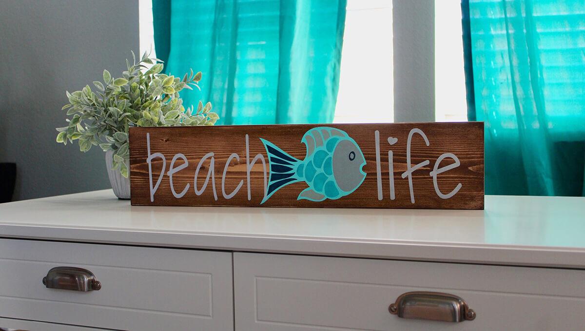 Panneau de planche de bois Beach Life