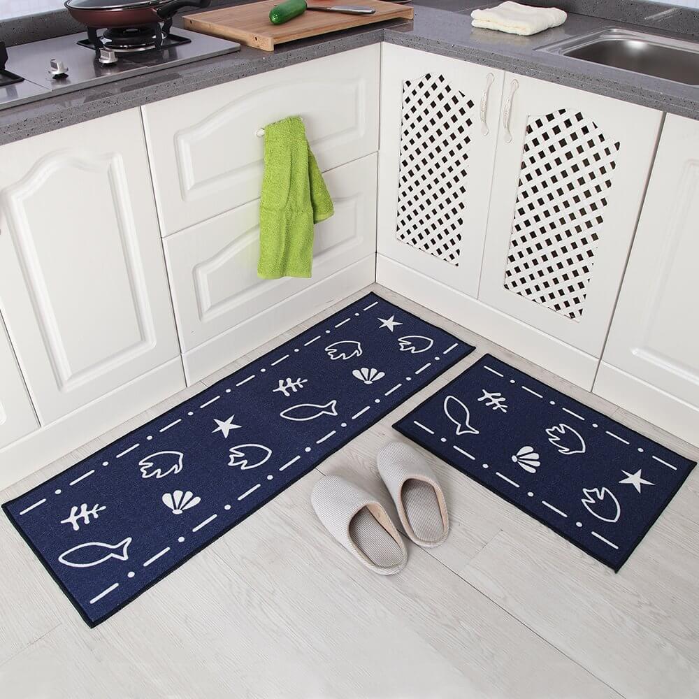 Tapis de cuisine Marine Life marine et blanc