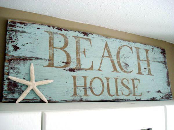 Signe de maison de plage étoile de mer en détresse bleue