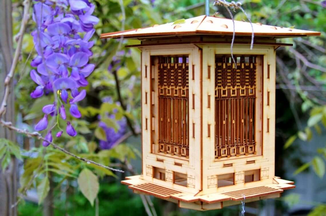Casse-tête en bois 3-D Mangeoire à oiseaux et lanterne