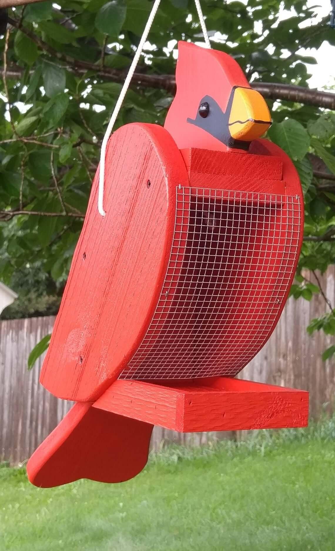 Mangeoire à oiseaux Cardinal amusante fabriquée à la main