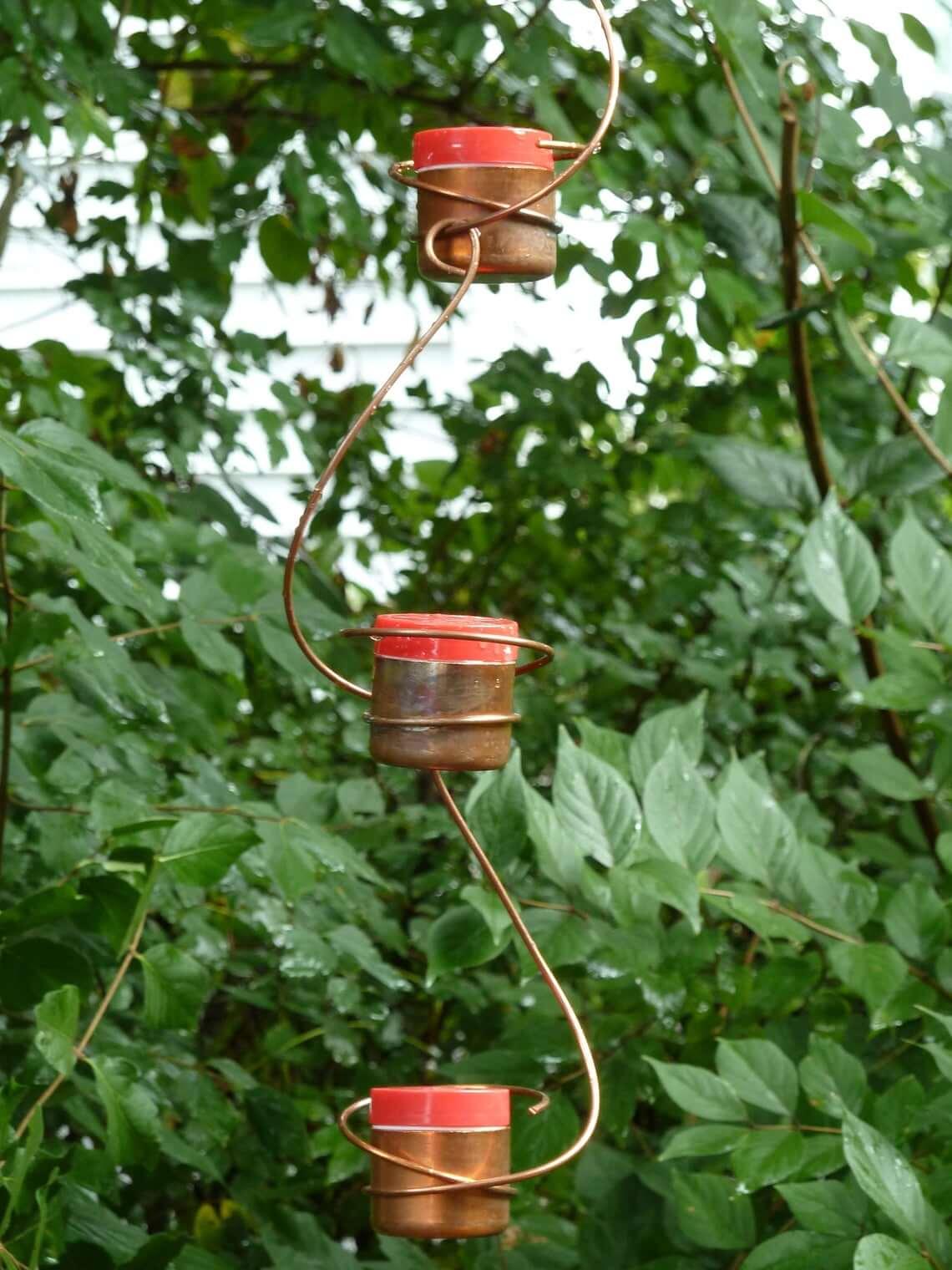 Mangeoires minimalistes pour colibris en fil de cuivre et tasse