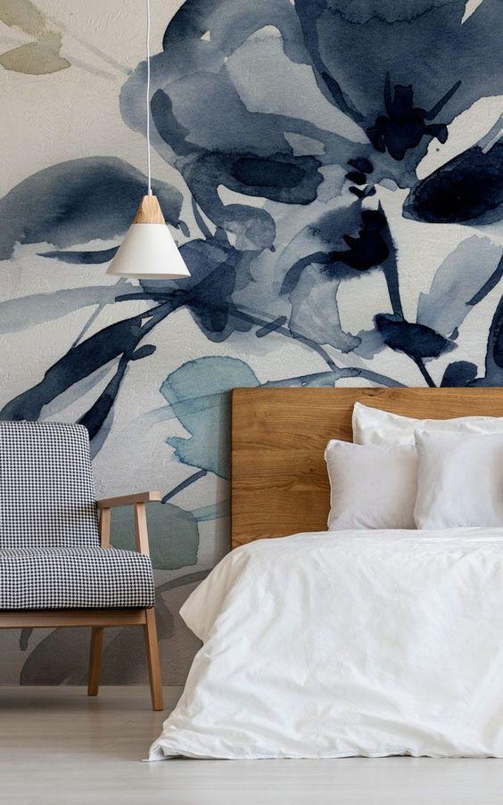 papier peint floral abstrait fait dans des tons à la mode - bleus - look très relaxant et très rafraîchissant