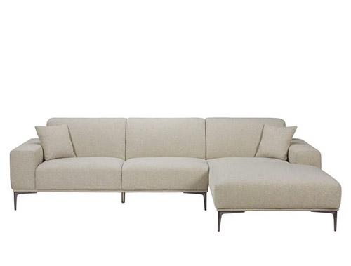 canapé d'angle en tissu gris clair