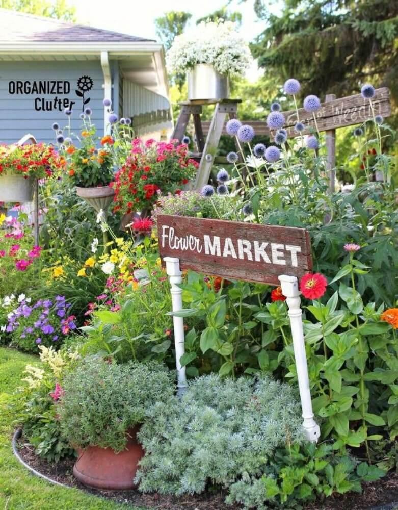 Marché aux fleurs signe sur pieds de table recyclés
