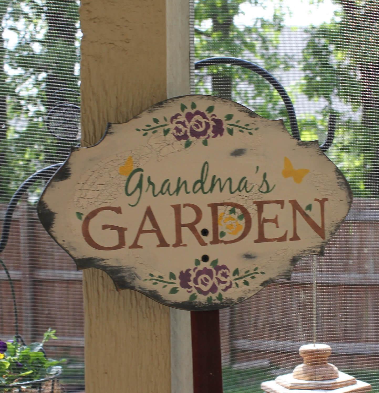Charmant signe pour le jardin de grand-mère