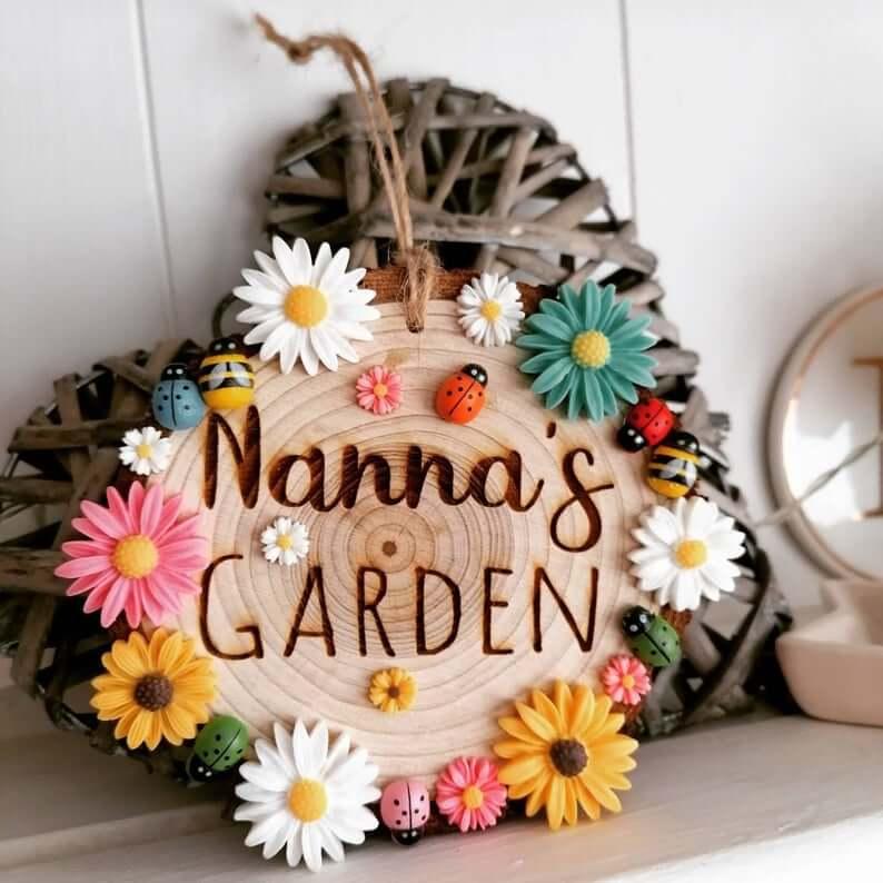 Ornement décoratif en bois rond Nanna's Garden