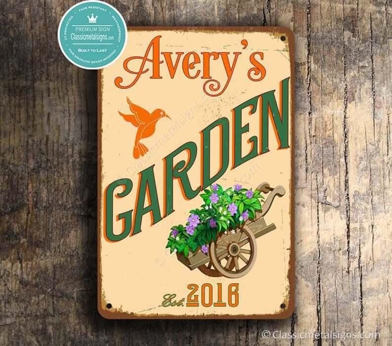 Panneau de jardin personnalisé avec colibri
