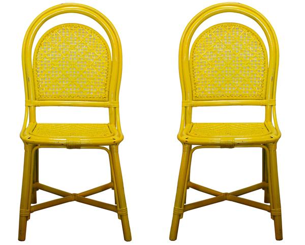 Chaises de salon jaunes