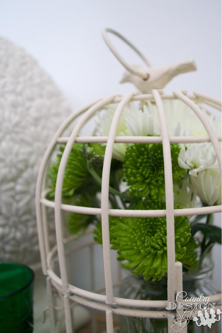 Décoration de cage à oiseaux ornée d'oiseaux de simplicité blanche