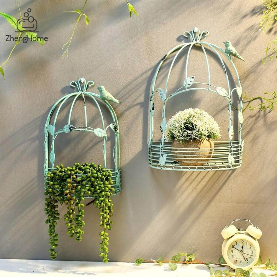 Porte-plantes Vintage Birdcage Wall Art