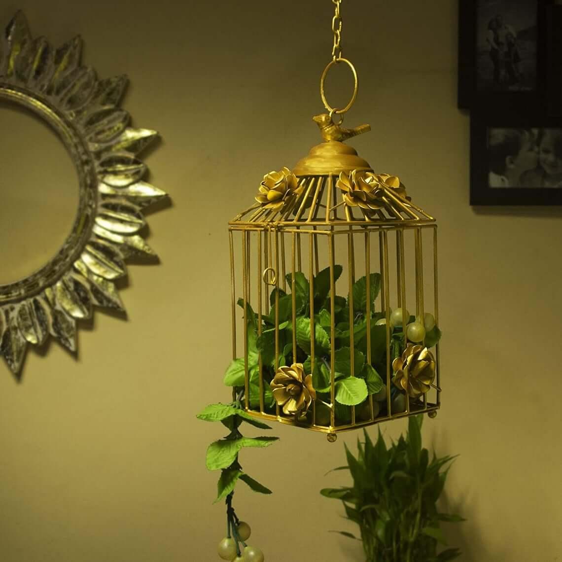 Décoration de plante de cage à oiseaux pendentif doré d'intérieur