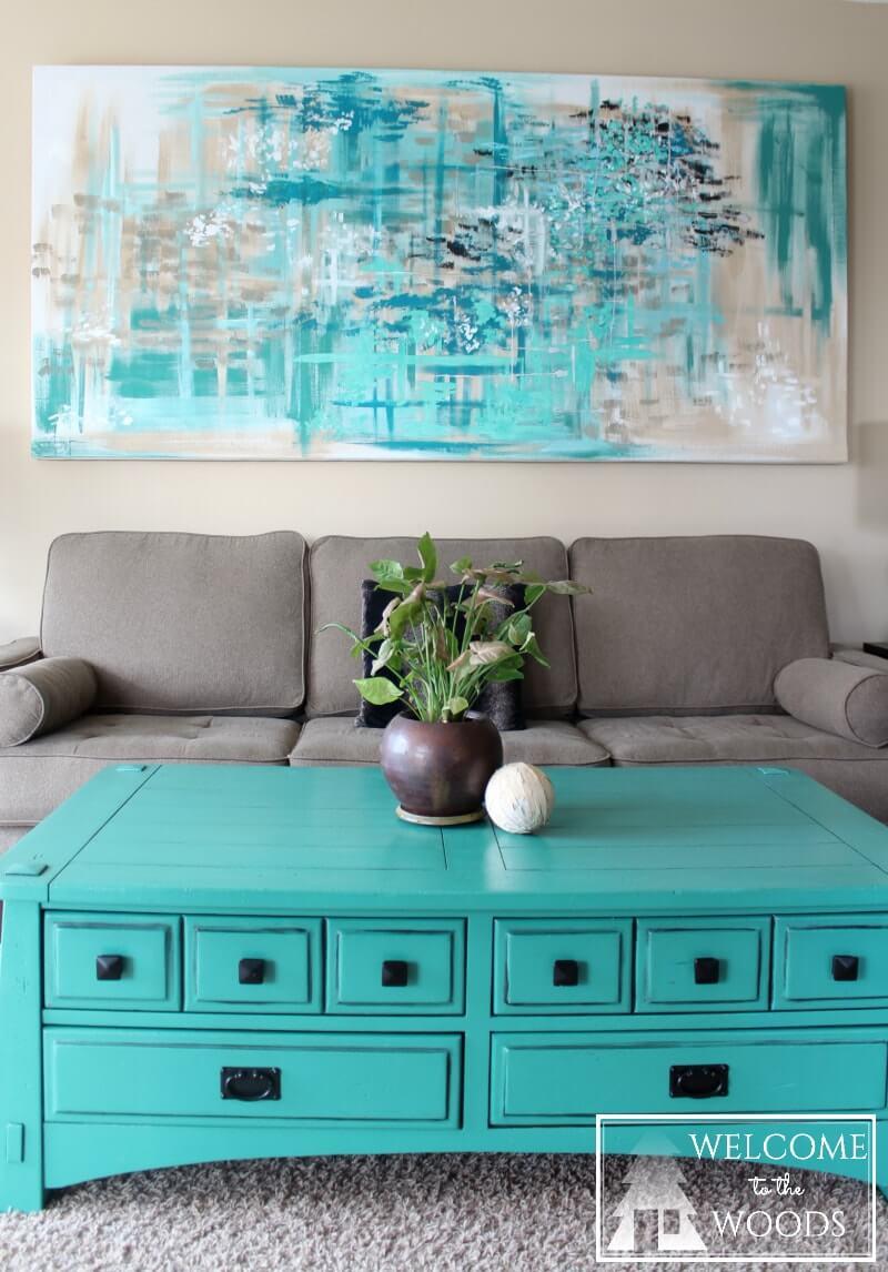 Peinture florale abstraite Moody Blue