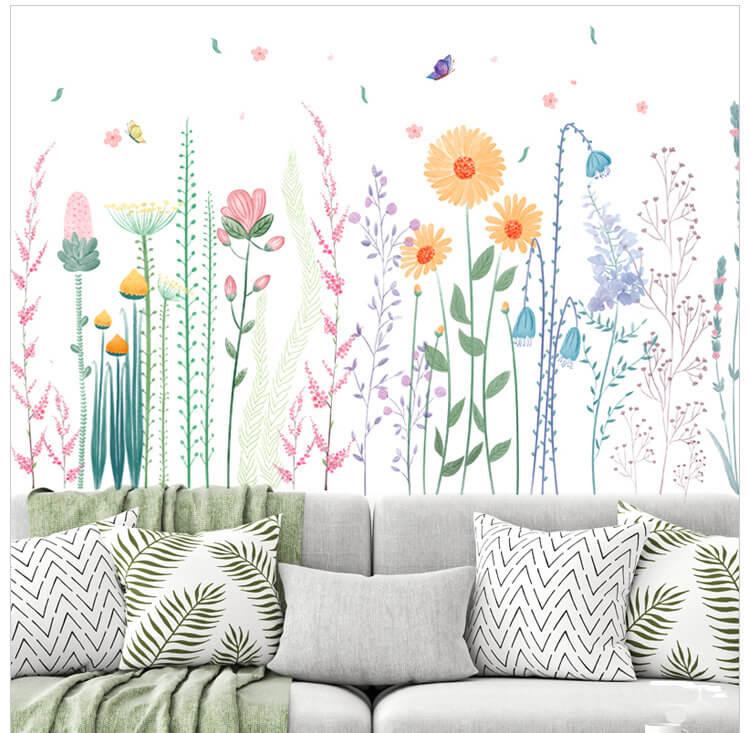 Stickers muraux fleurs faciles et colorés