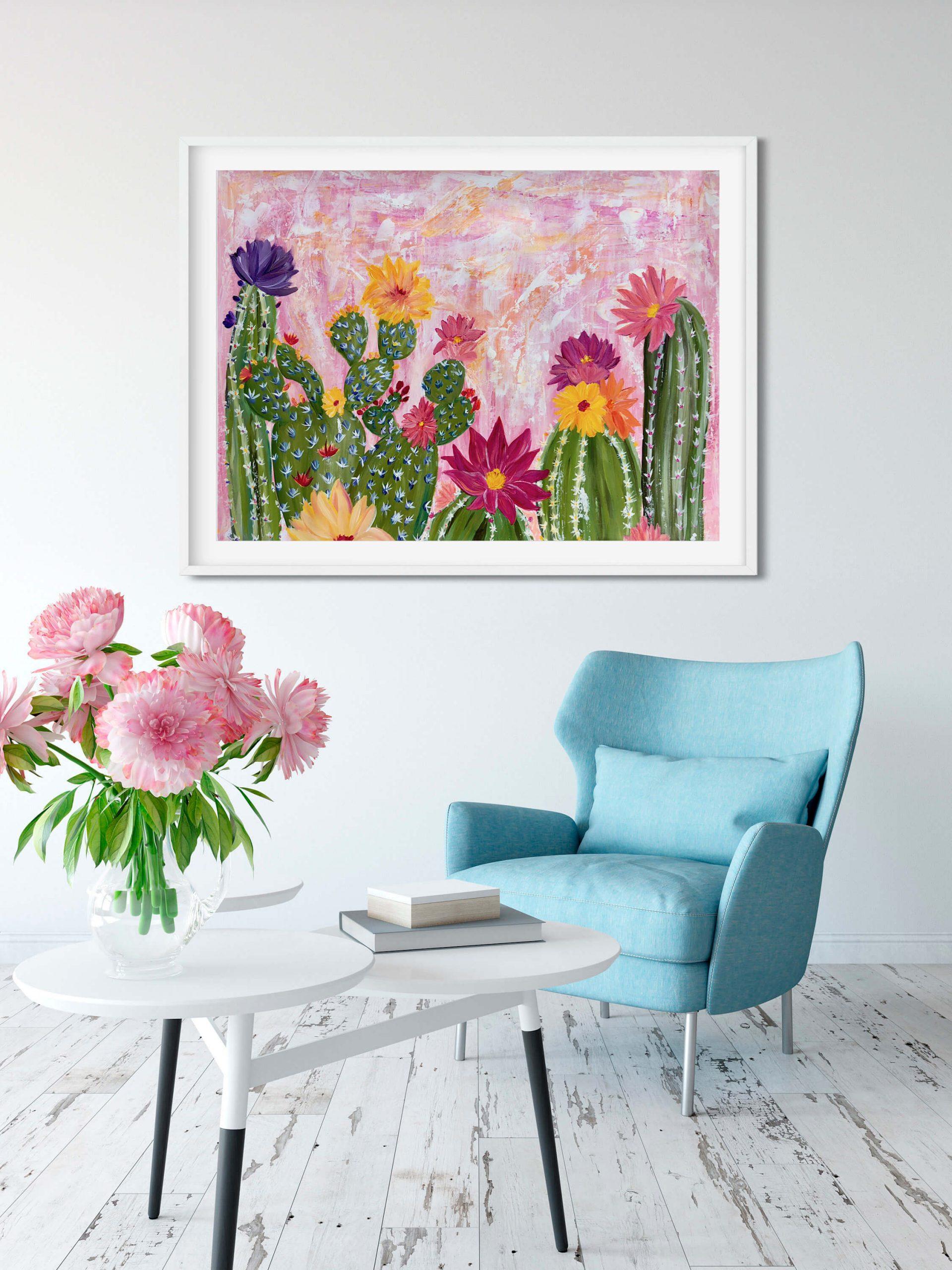 La floraison des cactus au coucher du soleil