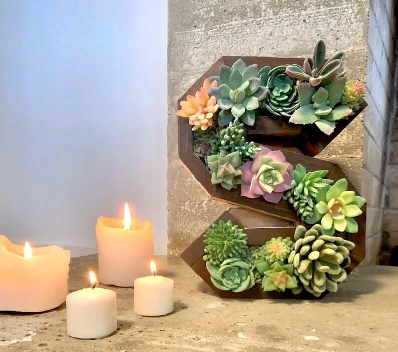 Lettre en bois pleine de succulentes copieuses