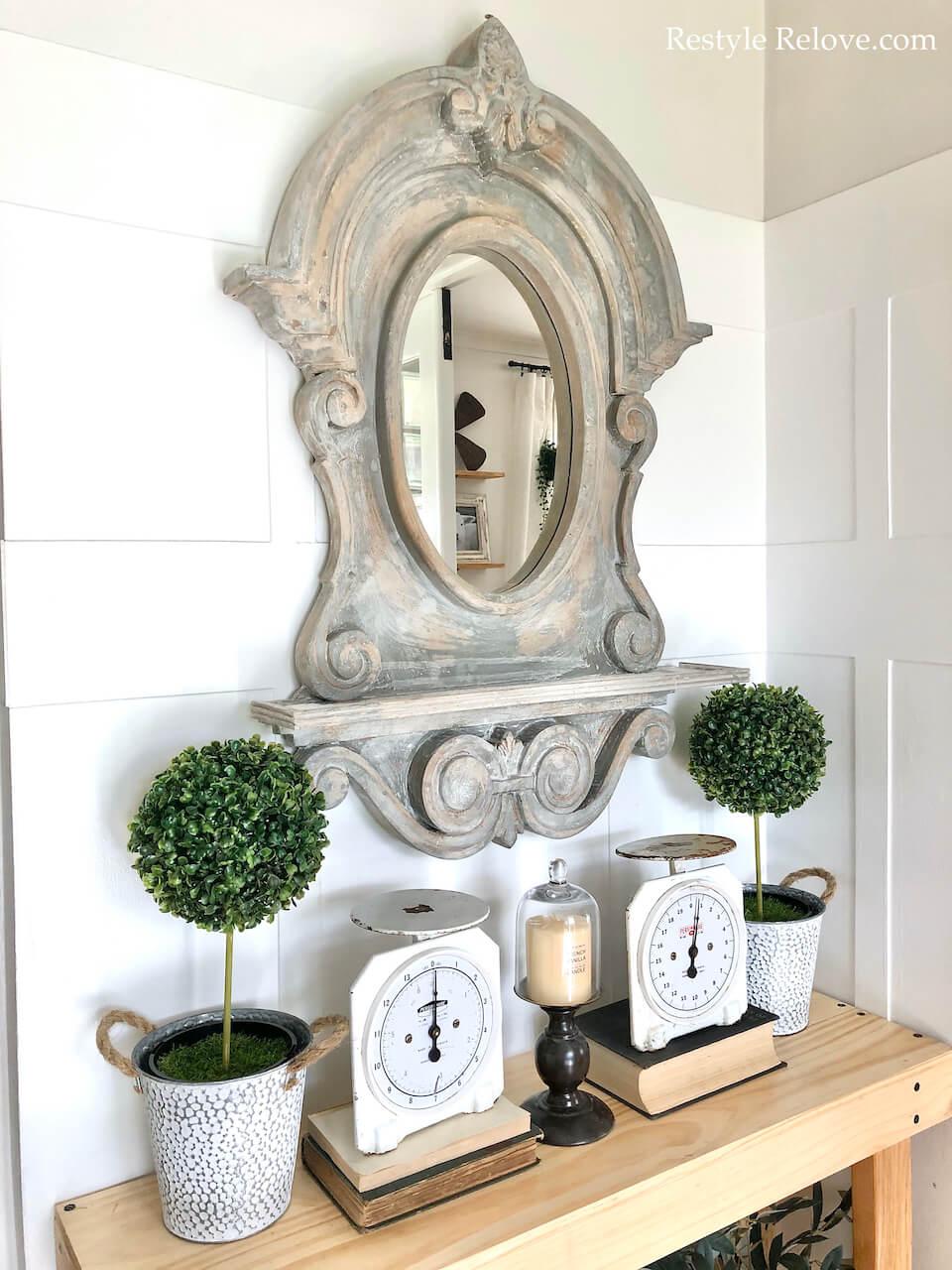 Grand Miroir Décoratif Ancien Pays Français