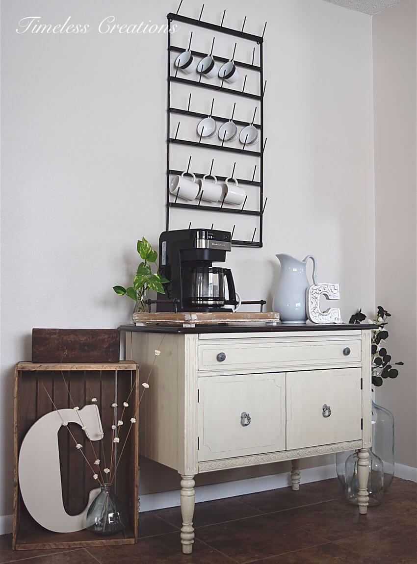 Station de café Shabby Chic noir et blanc