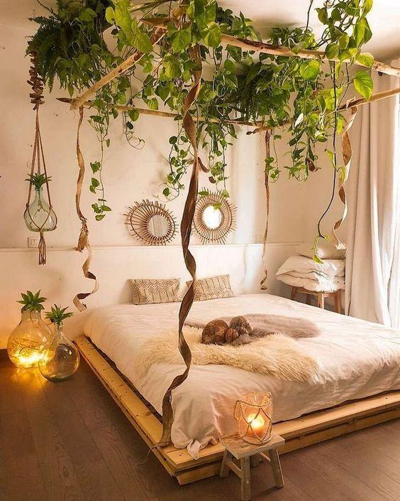 une chambre à couper le souffle avec de la verdure suspendue au plafond est relaxante et très confortable