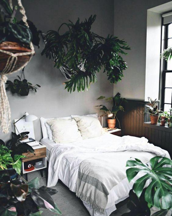 une chambre bohème avec des plantes tropicales en pot est très accueillante et très estivale
