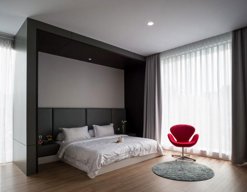 Chambre à coucher maison contemporaine