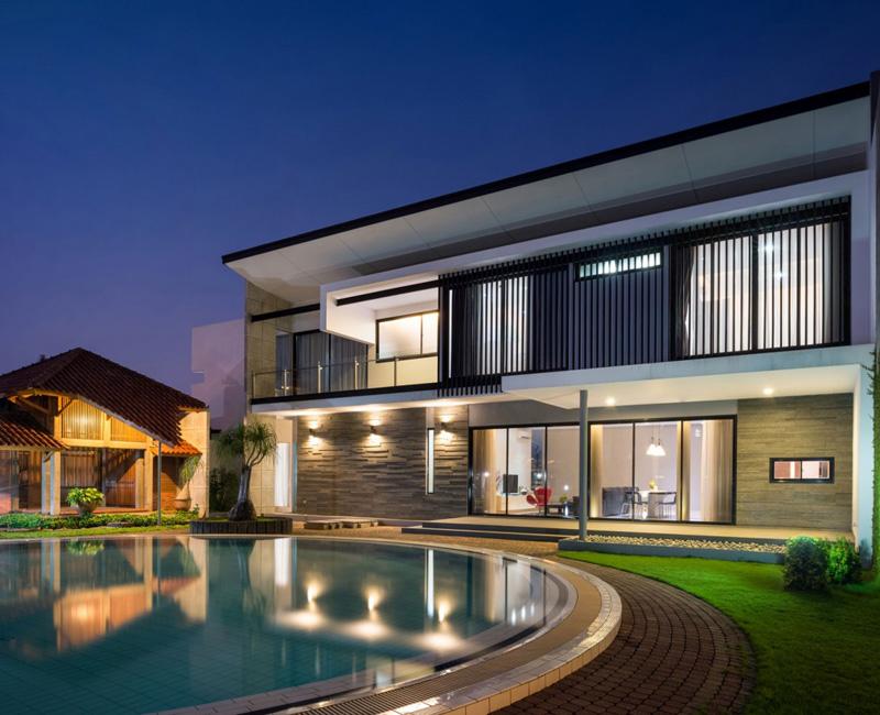 indonésie maison extérieur nuit