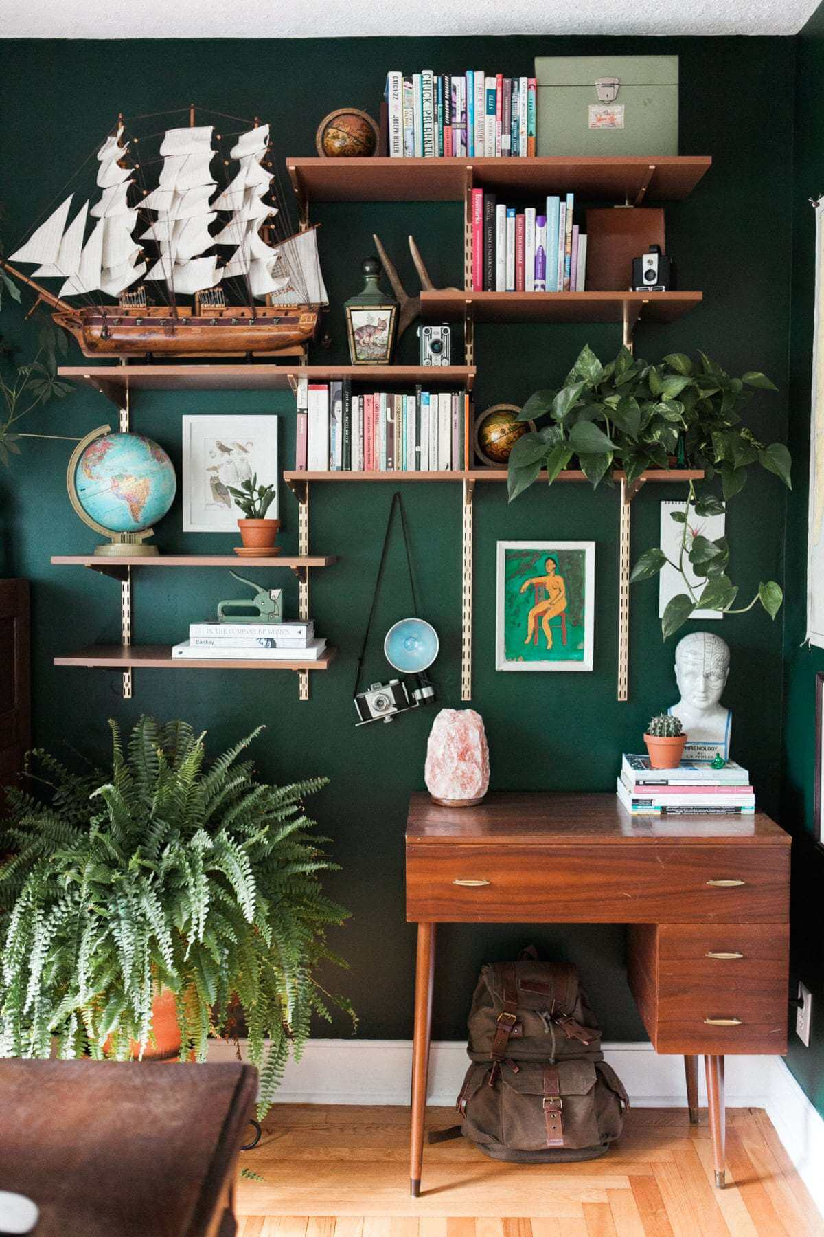 Mur de bureau vert foncé captivant