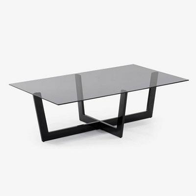 table basse en cristal noir