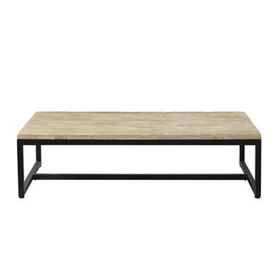 table basse noir et bois