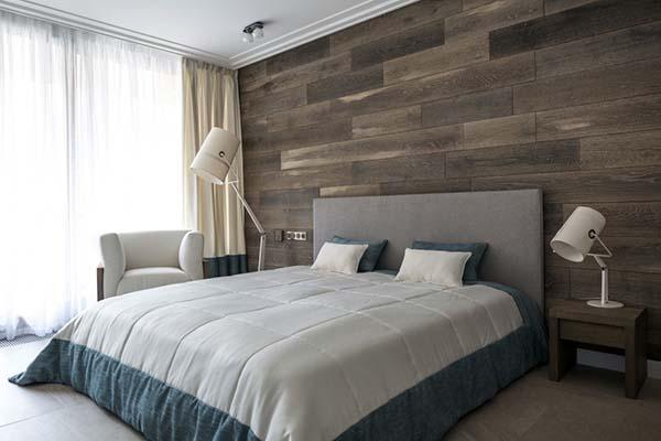 accent de bois de chambre à coucher