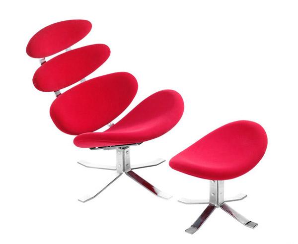 chaise longue pétale rouge