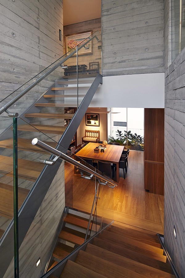 escaliers en bois de verre