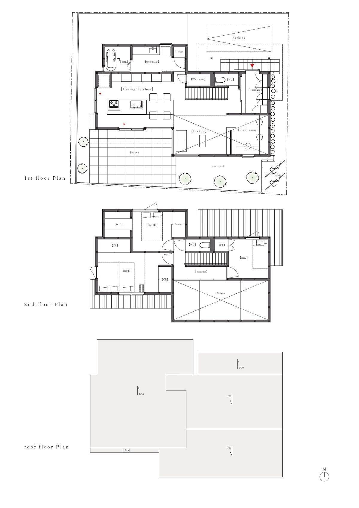 Plan-étage-de-trois-niveaux-différents-de-la-maison-à-Sumiregaoka-91668